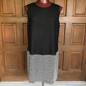 Rag&Bone Black&White Silk Sleeveless Midi Dress M